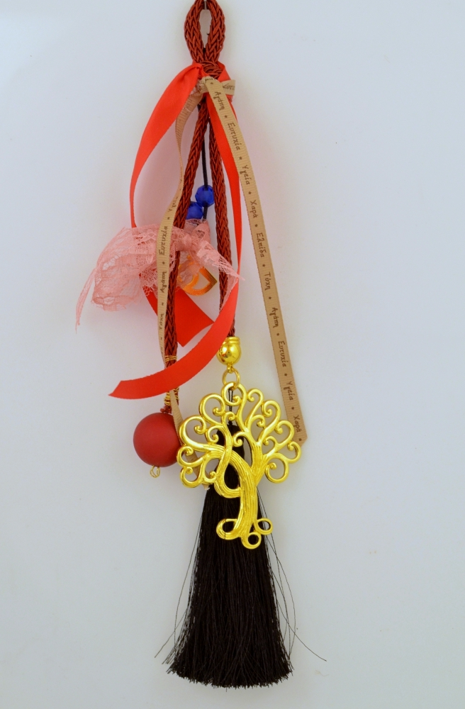 Lucky Charm Metal Tree Gold Plated with Wishes Ribbon