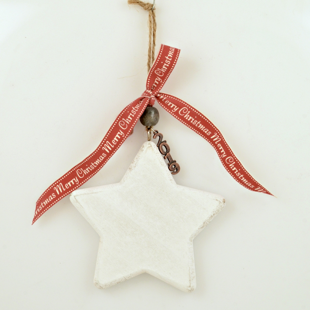 Lucky Charm 2019 Wooden White Star With Wish Ribbon