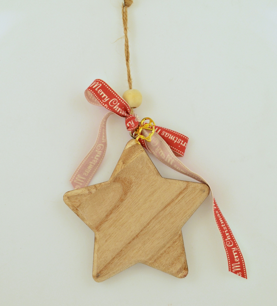 Lucky Charm 2019 Wooden Natural Star with Wish Ribbon