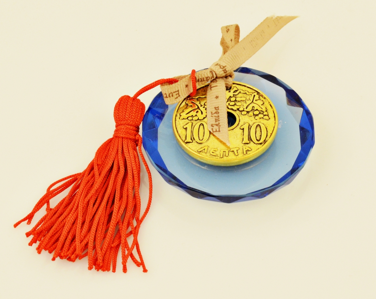 Lucky Charm 2019 Wish Ribbon Greek Old Coin on Round Blue Crystal