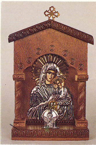 Traditional Orthodox Icon with Electric Lamp C' Wooden Coloured