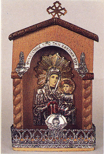 Traditional Orthodox Icon with Electric Lamp E' Wooden Coloured