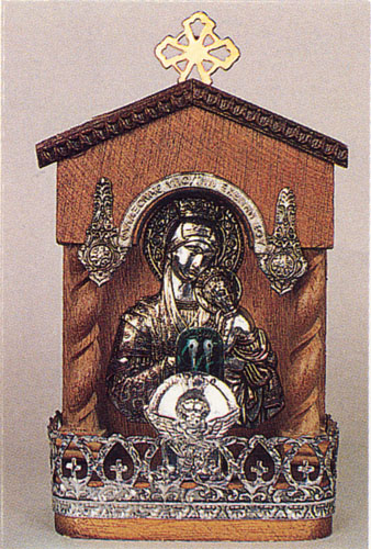 Traditional Orthodox Icon with Electric Lamp F' Wooden Coloured