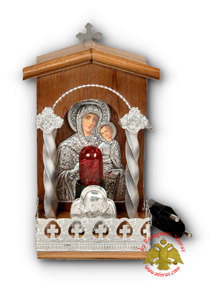 Traditional Orthodox Icon with Electric Lamp Wooden Coloured 8x17cm