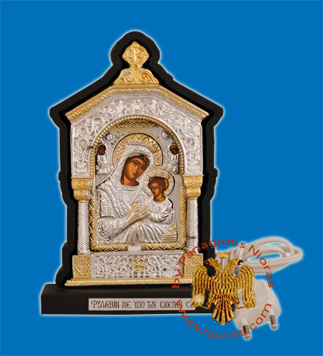Orthodox Traditional Icon with Electric Lamp Wooden with Cross A