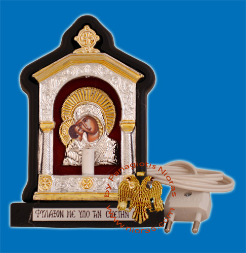 Orthodox Traditional Icon with Electric Lamp Wooden with Cross B