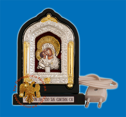 Orthodox Traditional Icon with Electric Lamp Wooden Angel Design