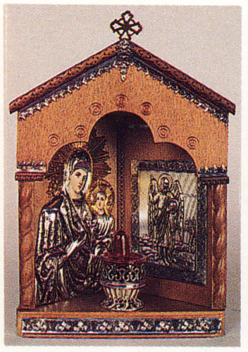 Traditional Orthodox Icon with Electric Lamp Corner A Wooden Coloured Silver Plated Decor