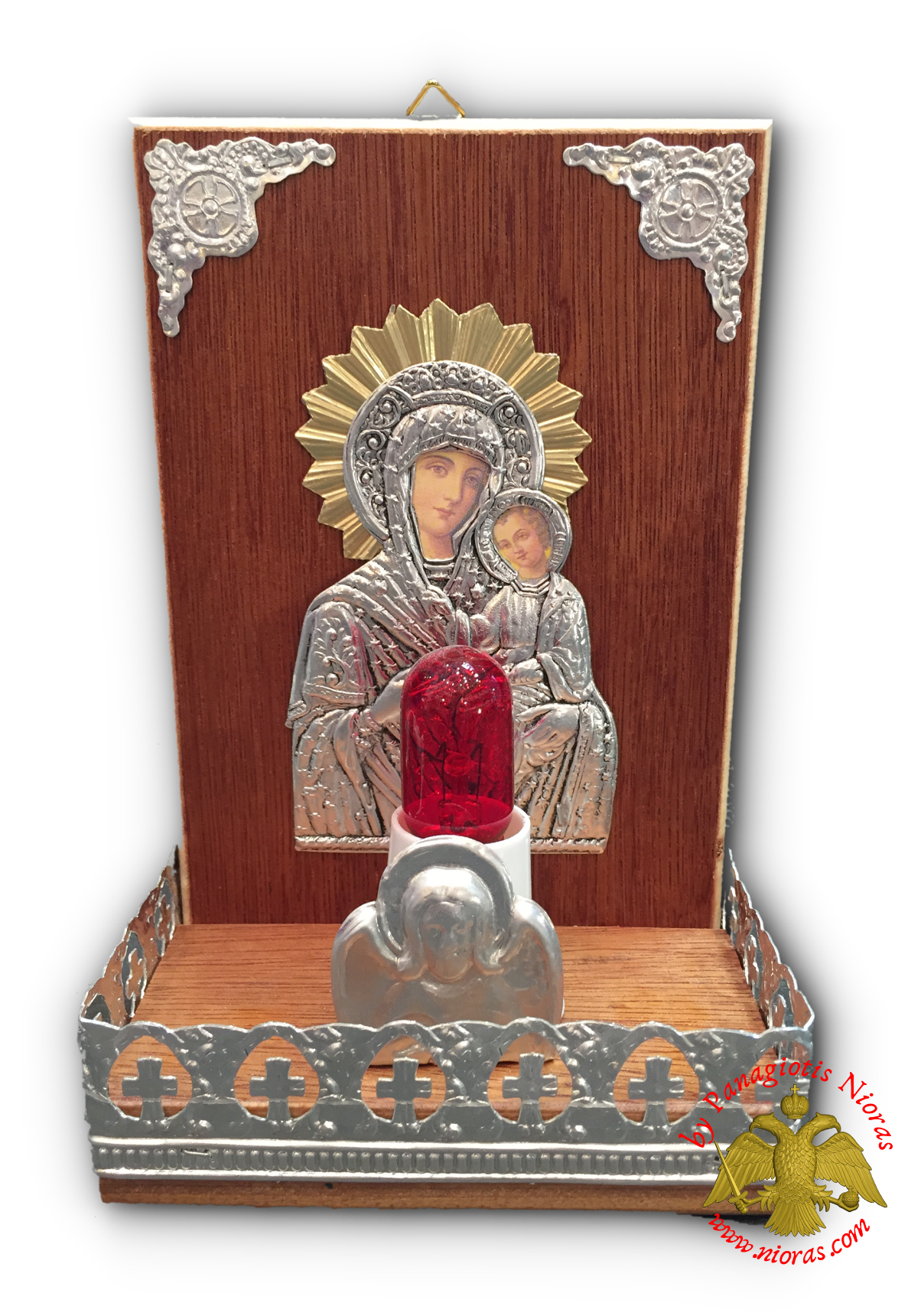 Traditional Orthodox Icon with Electric Lamp Rectanqular Wooden Coloured