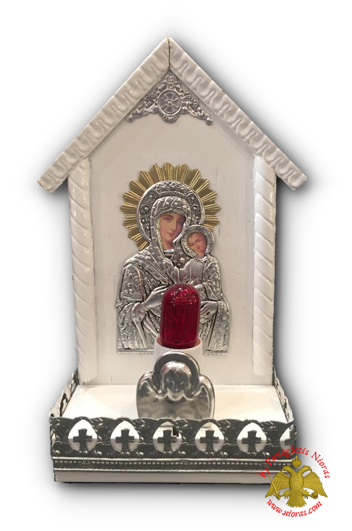 Traditional Orthodox Icon with Electric Lamp Trianqular White Coloured