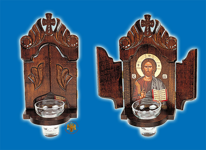 Orthodox Traditional Icon WoodCarved Doors with Glass Vigil Oil Cup