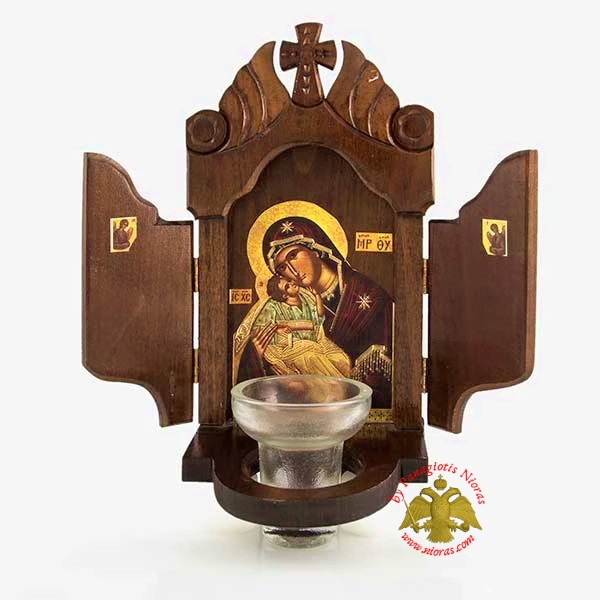 Orthodox Traditional Woodcarved Iconostasis with Theotokos Icon and Glass Oil Cup 14x30cm