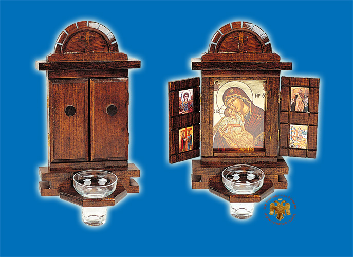 Orthodox Traditional Icon WoodCarved Doors with Glass Oil Cup