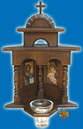 Orthodox Traditional WoodCarved Corner Icon with Glass Oil Cup