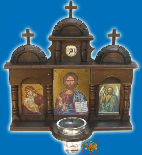 Orthodox Traditional WoodCarved Triptych Icon with Glass Oil Cup