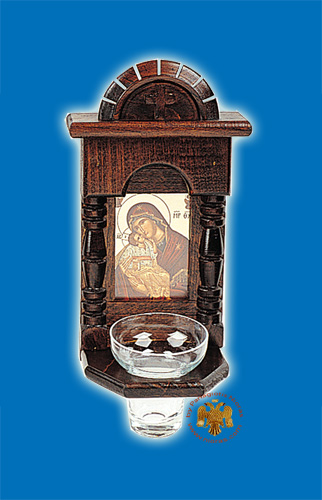 Orthodox Traditional Icon WoodCarved Cross in the Top with Glass Oil Cup