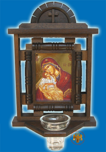 Orthodox Traditional WoodCarved Icon H' with Glass Oil Cup