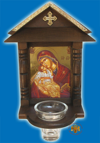 Orthodox Traditional WoodCarved Icon I' with Glass Oil Cup