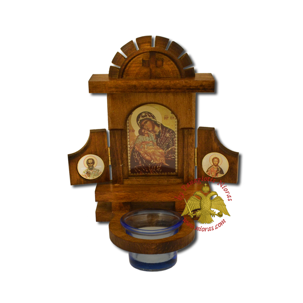 Orthodox Traditional Icon WoodCarved Doors with Vigil Glass Oil Cup