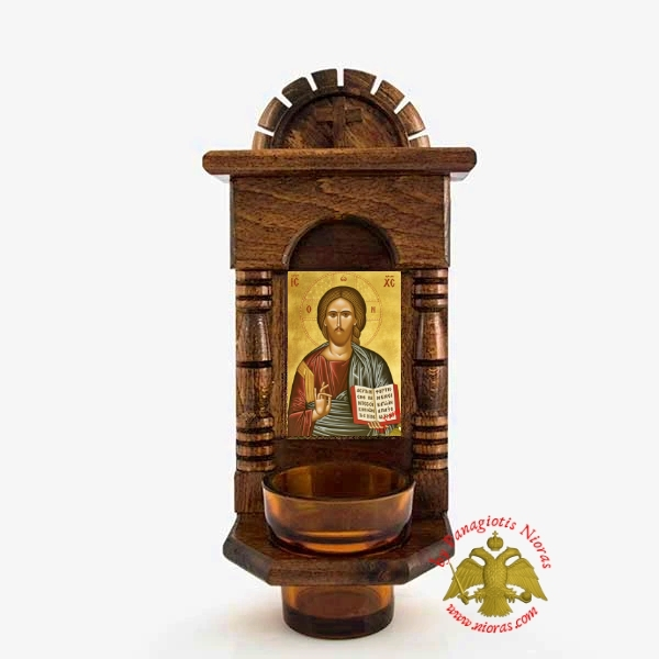 Orthodox Traditional Wooden Iconostasis with Jesus Christ Holy Icon offered with Glass Oil Cup
