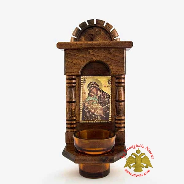 Orthodox Traditional Wooden Iconostasis with Theotokos Holy Icon offered with Glass Oil Cup