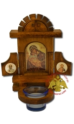 Wooden Icons with Glass Oil Cup