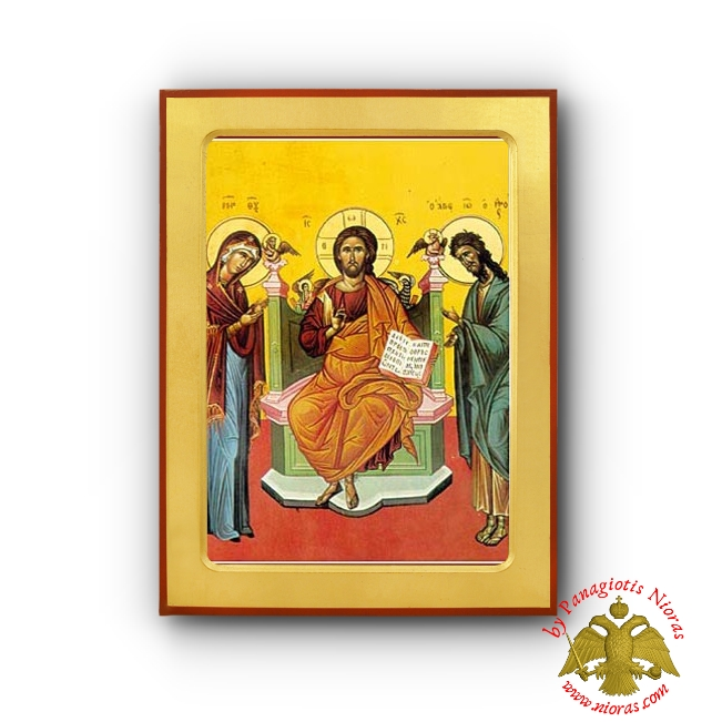 Christ Deisis Byzantine Wooden Icon Iconographer Vranos