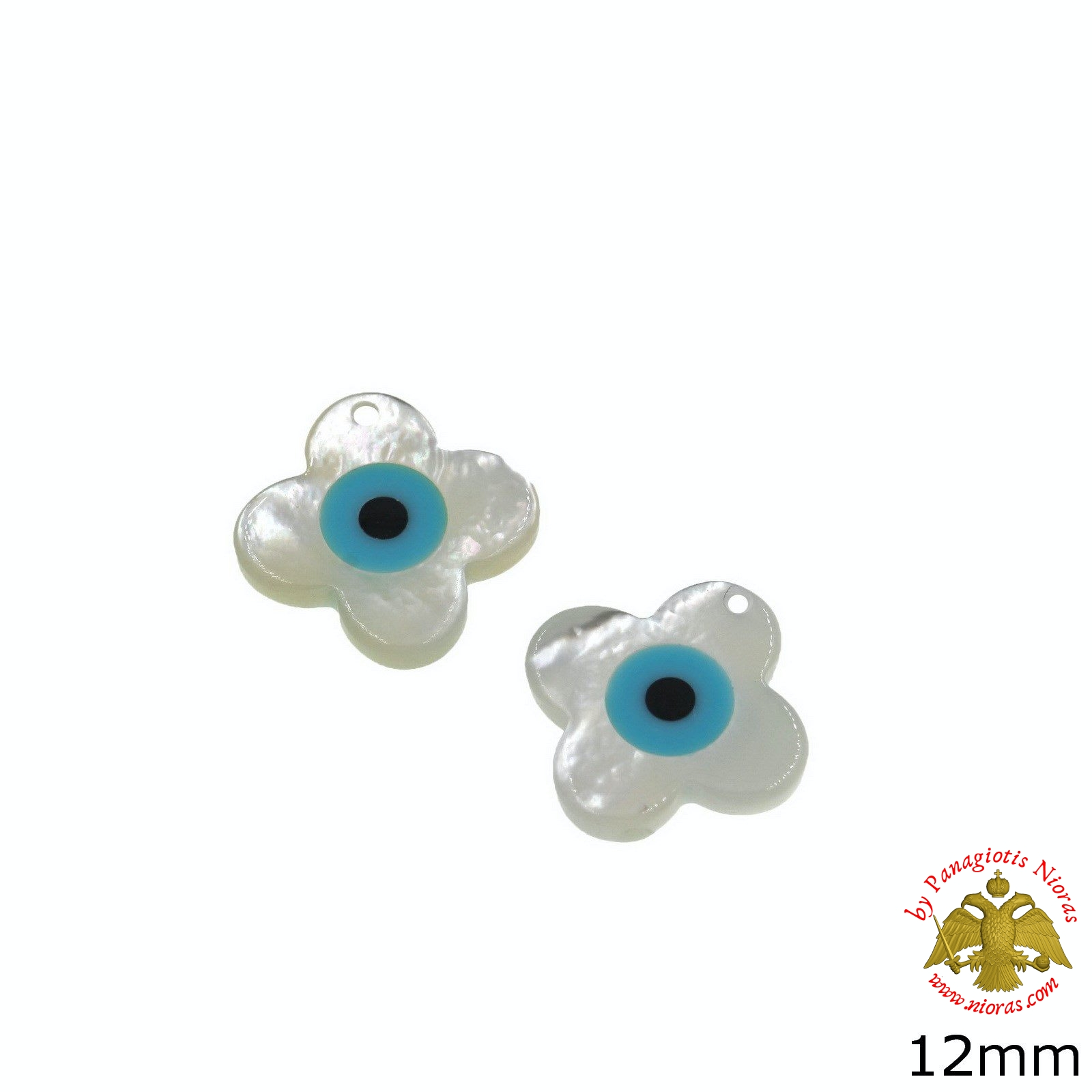 Martiriko Cross Shaped Shell White Evil Eye - 10 pcs