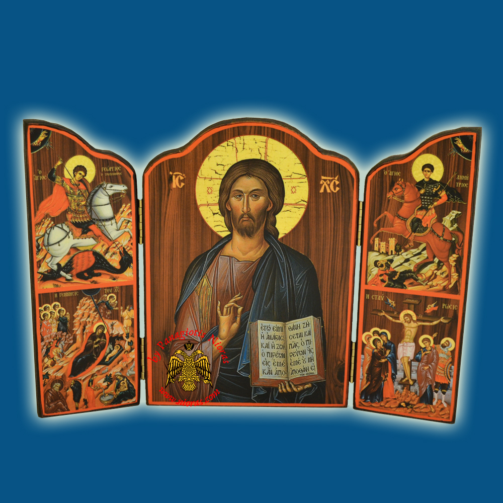 Orthodox Wooden Triptych With Holy Annunciation and Inner Christ Icon 10x14cm