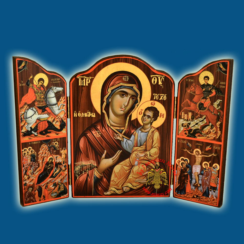 Orthodox Wooden Triptych With Holy Annunciation and Inner Panagia Icon 10x14cm