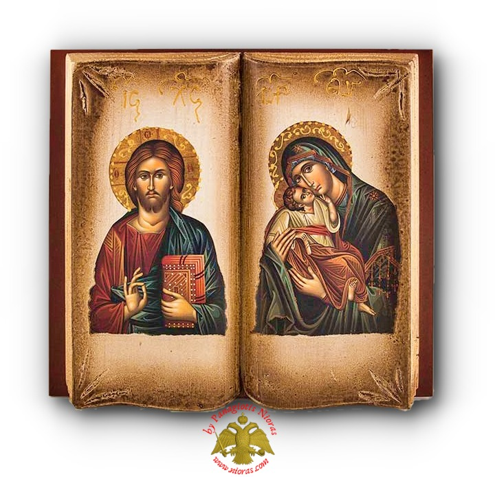 Orthodox Diptych Wooden Book with Holy Icons Theotokos and Christ 30x32cm