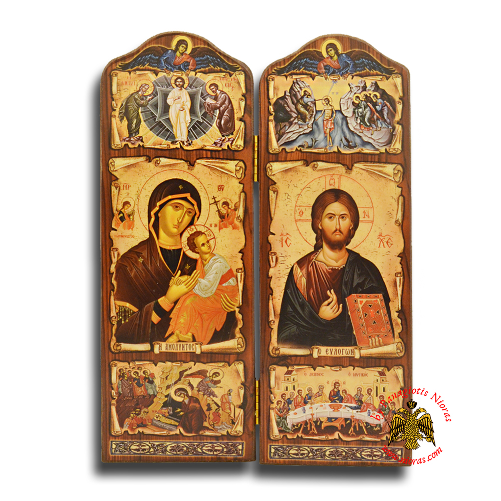 Orthodox Wooden Diptych with Holy Icons of Christ and Panagia Long 29x20cm