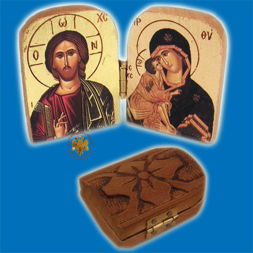 Orthodox Wooden Diptych 8cm x 5cm With Gold Leaf Holy Icons Theotokos and Christ
