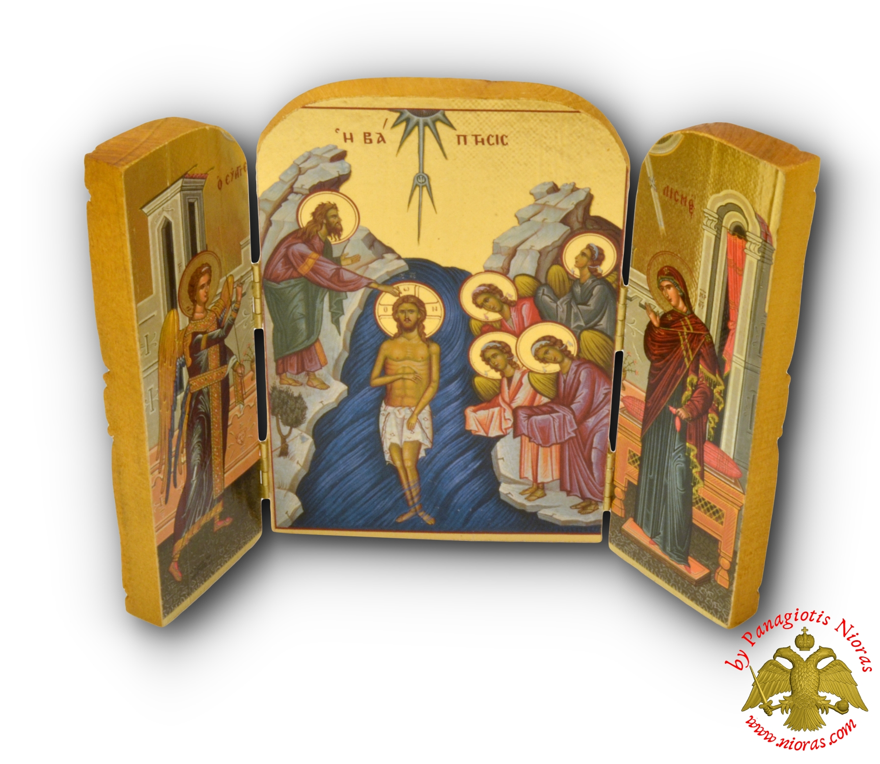 Icon Triptych 14cm x 20cm With Gold Leaf Paper Baptism of Christ