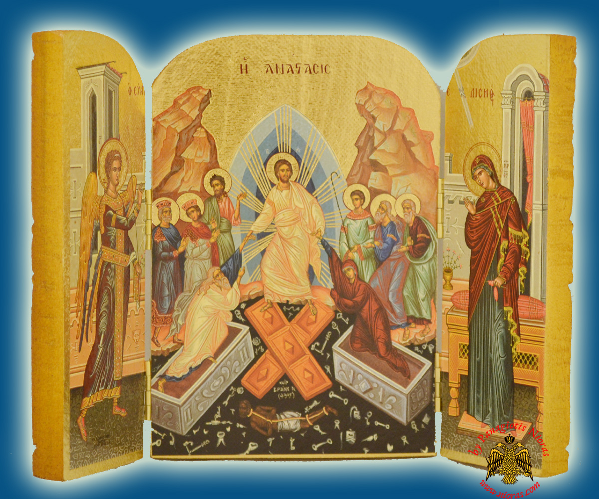 Icon Triptych 14cm x 20cm With Gold Leaf Paper Resurrection of Christ