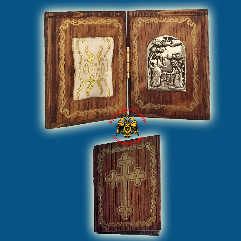 Diptych Wooden Orthodox Traditional Amulet with Metal Annunciation Icon 4x5cm