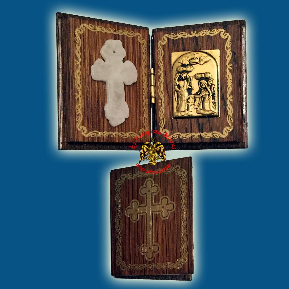 Diptych Wooden Orthodox Marble Cross with Metal Annunciation Icon 4x5cm