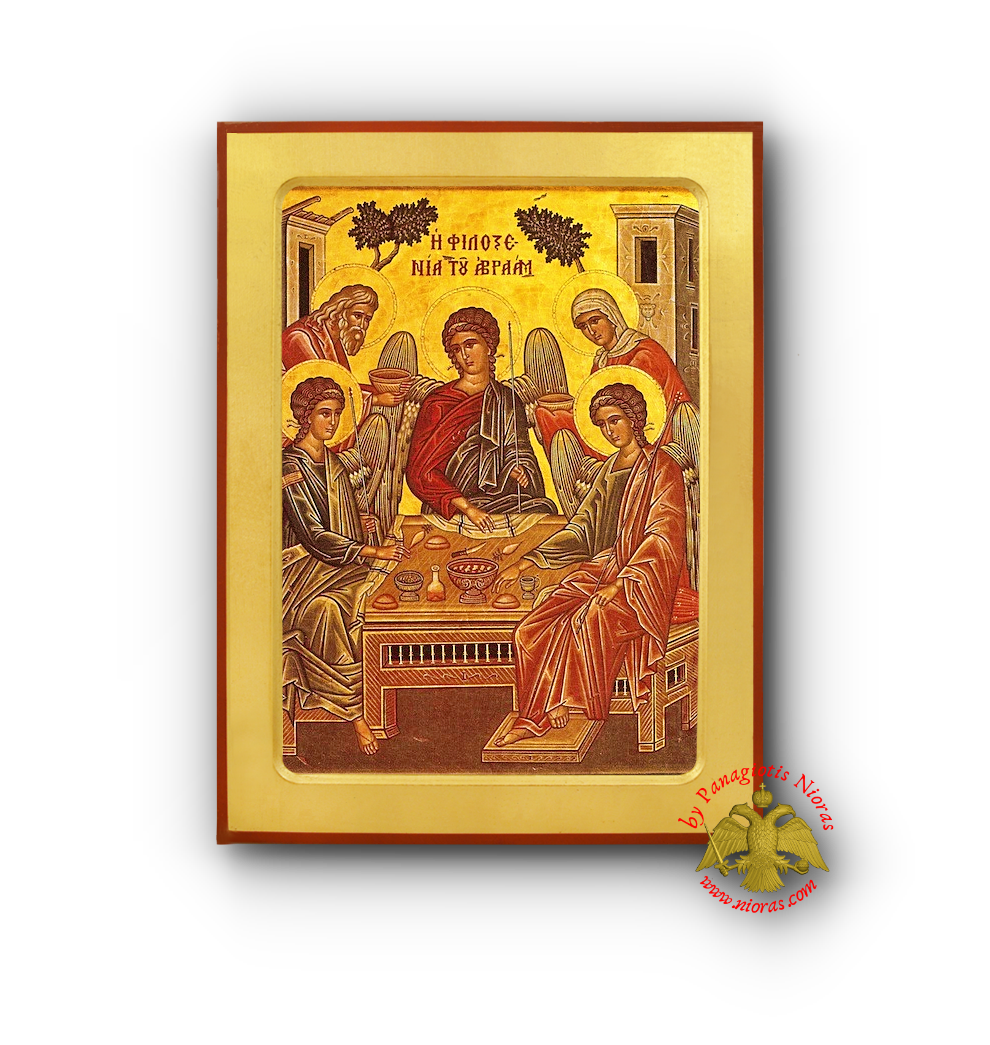 The Hospitality of Abraham Byzantine Wooden Icon By Monk Michael Mount Athos