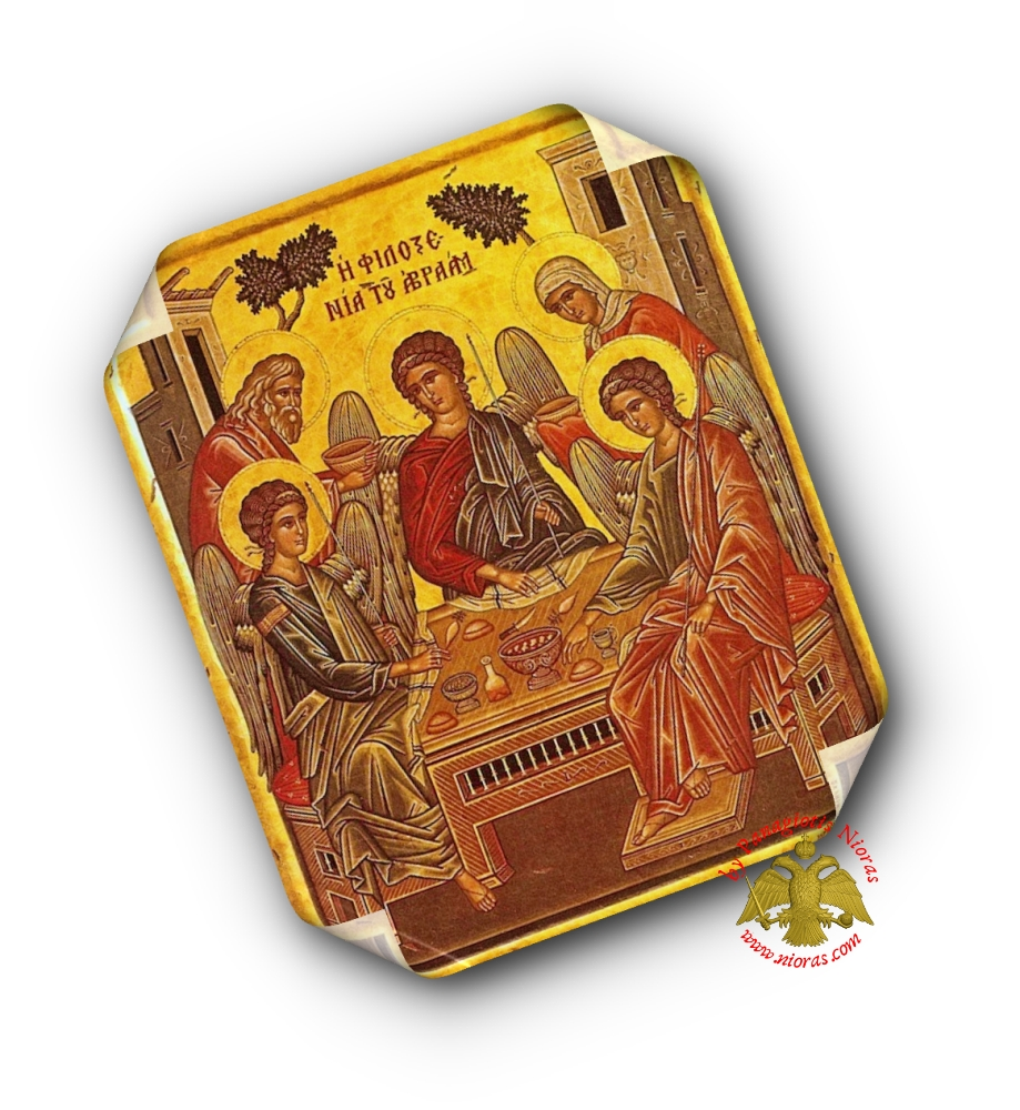 Laminated Holy Icon Hospitality of Abraham