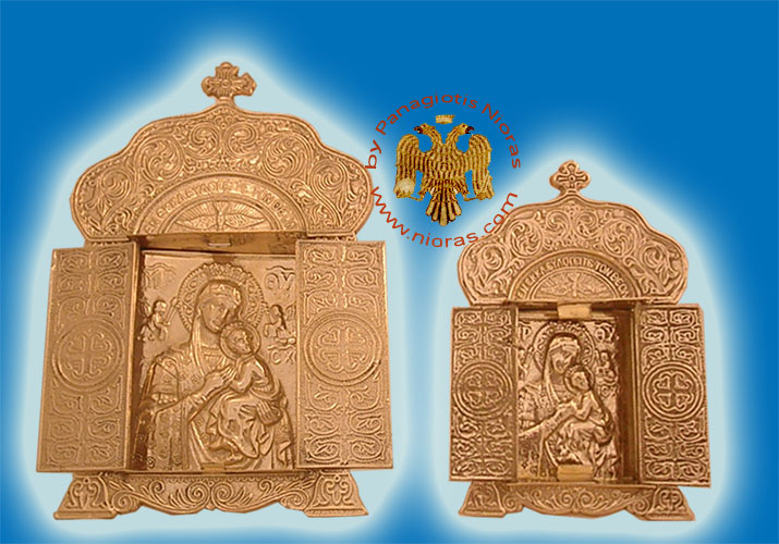 Theotokos Icon on Metal Church Style Decor Brass