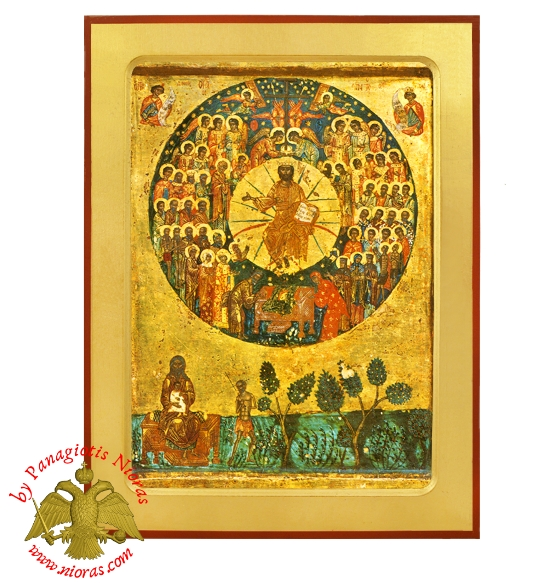 All Saints Divine Chorus Byzantine Wooden Icon Original Theme from Holy Monastery Pantocrator
