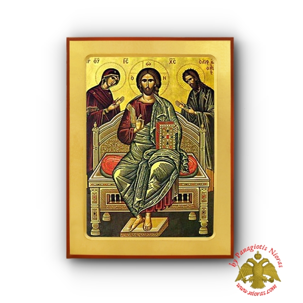 Christ Deisis Byzantine Wooden Icon Iconographer Monk Michael