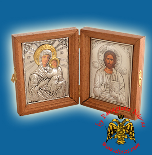 Diptych Wooden With Metal Icons 9x12x3cm Diptychs