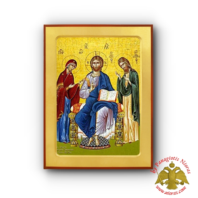 Christ Deisis Byzantine Wooden Icon Iconographer New Skete of Mount Athos