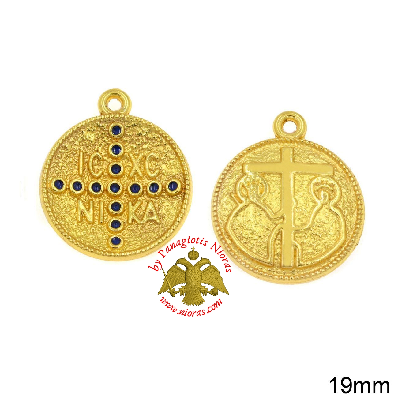Casting Constantinato Coin Pendant GOLD PLATED BLUE - 40 pcs
