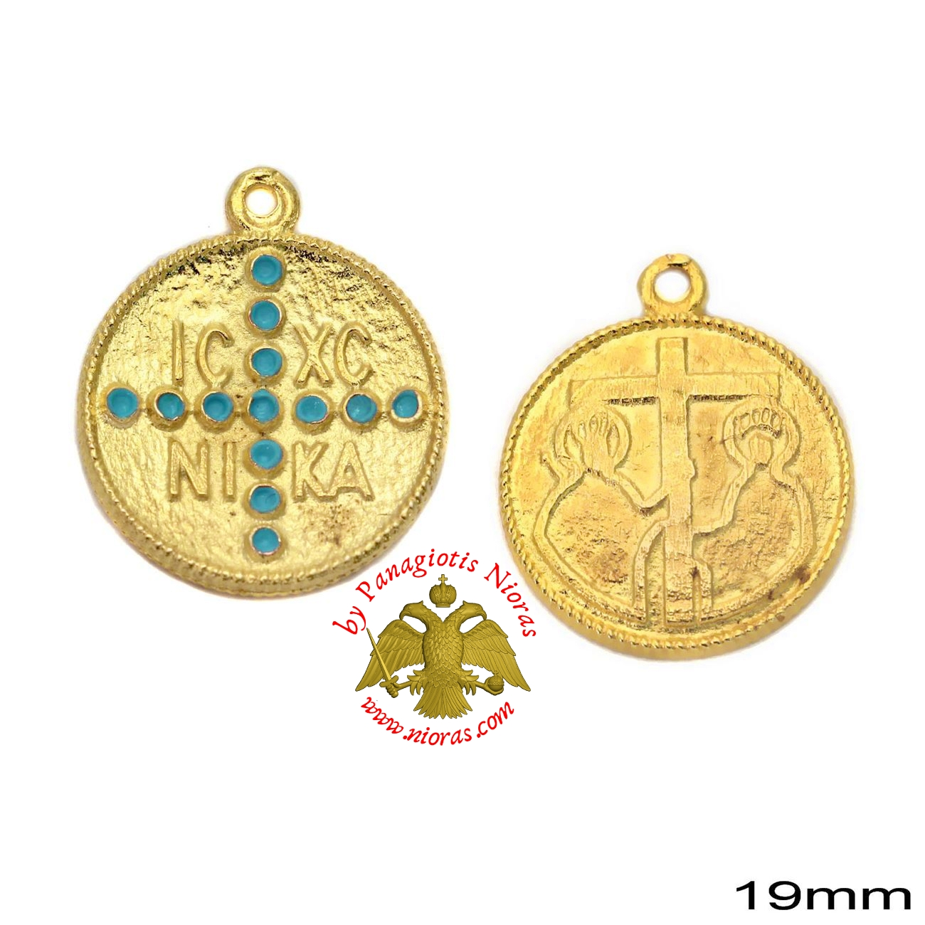 Casting Constantinato Coin Pendant GOLD PLATED TURQUOISE - 40 pcs