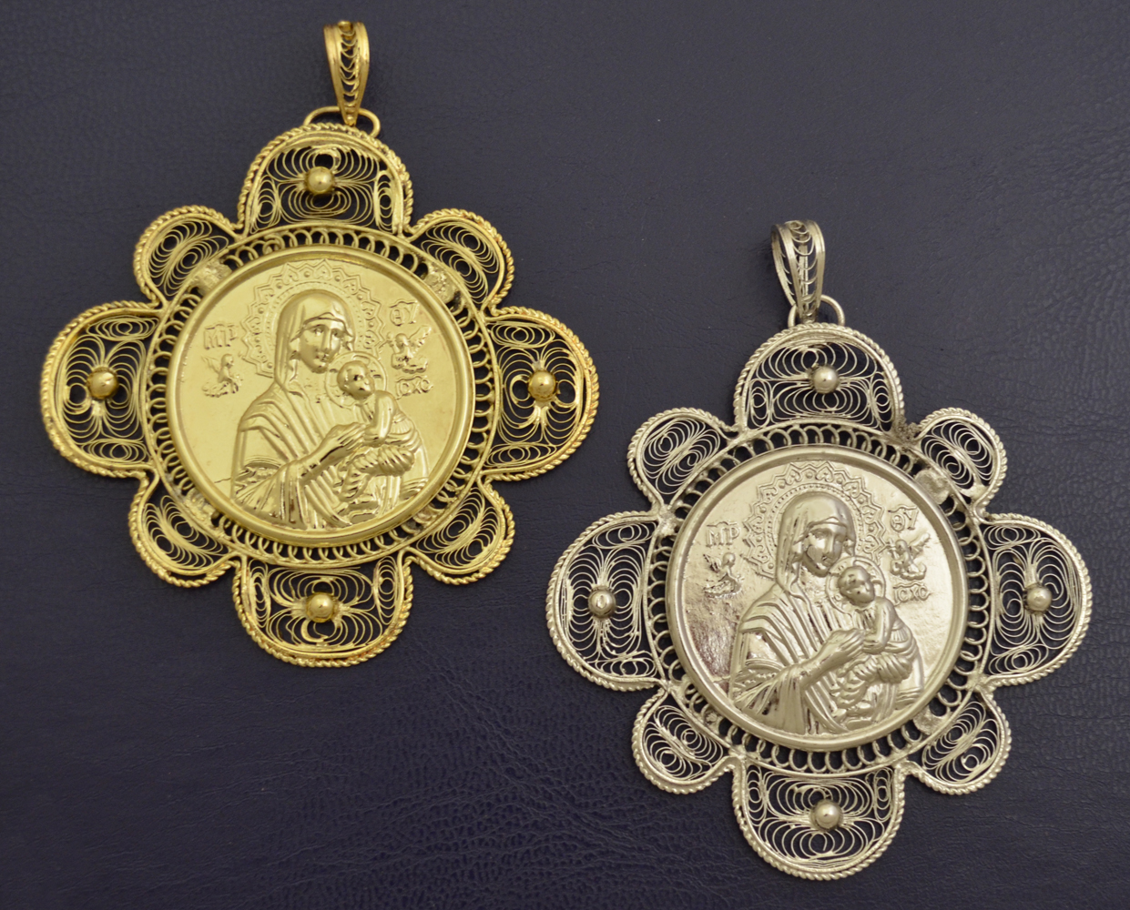 Hand Made Filigree Metal Icon Gold Plated