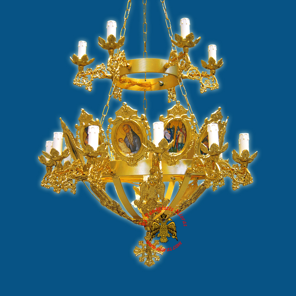 Church Chandelier Frames With Orthodox Icons 19 Electric Lights