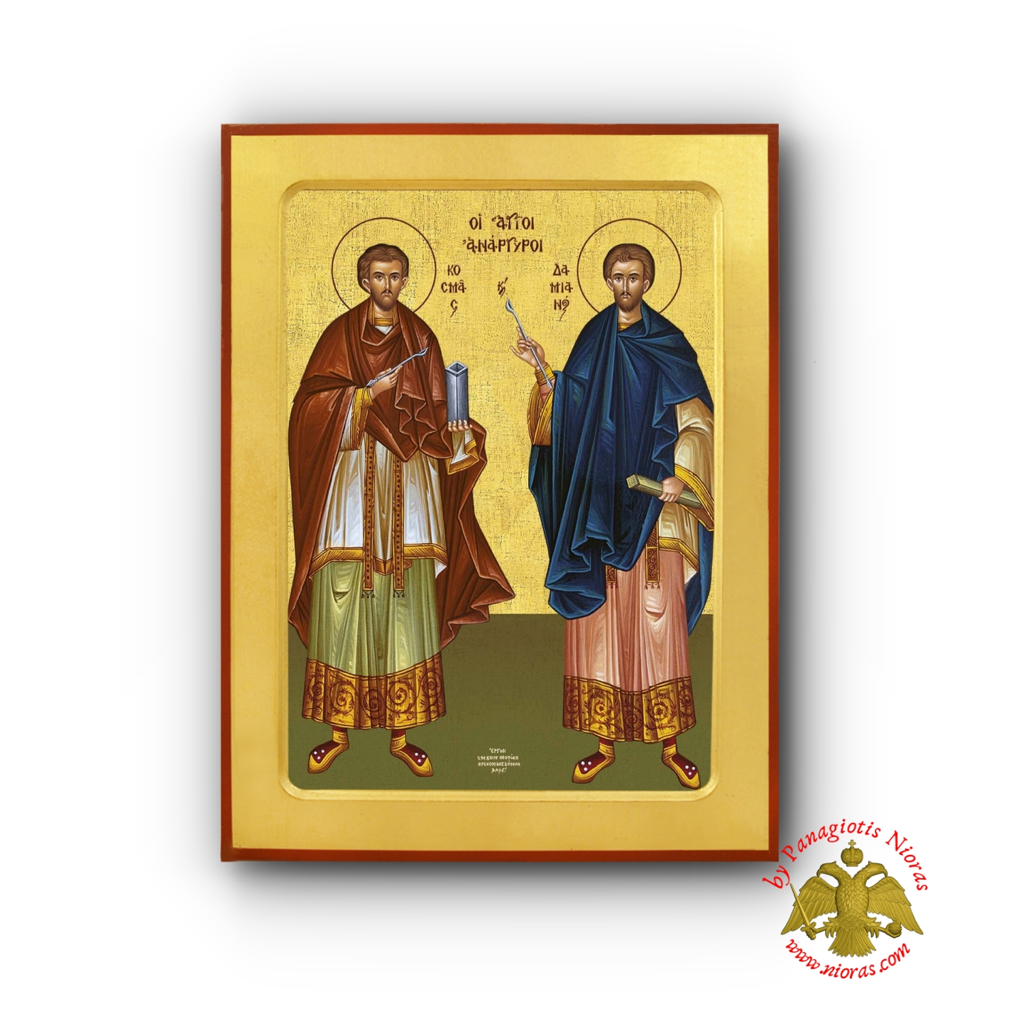 Saints Cosmas & Damian - Holy Unmercenaries Byzantine Wooden Icon