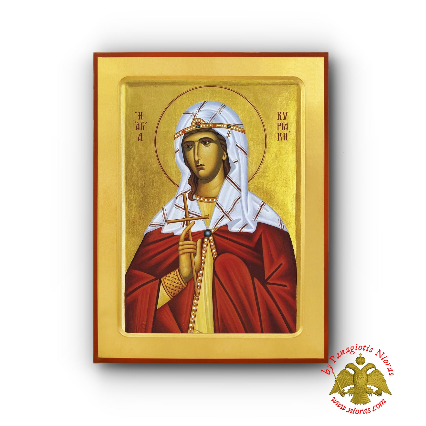 Saint Cyriaca Byzantine Wooden Icon by Nun Kassiani